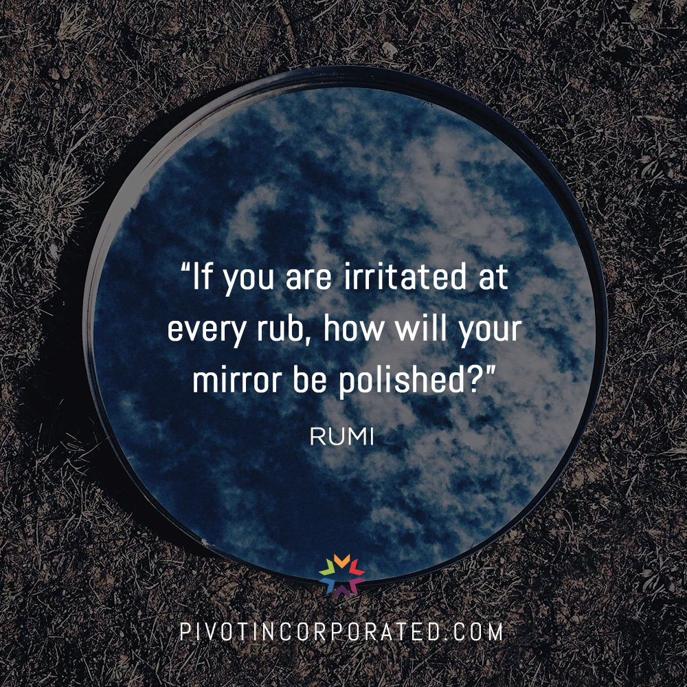 If you are irritated at every rub, how will your mirror be polished? - Rumi